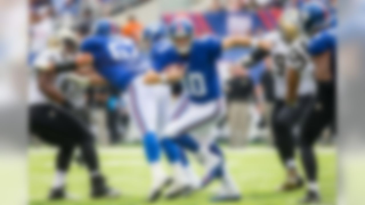 New York Giants quarterback Eli Manning (10) scrambles out of the pocket during a NFL football game between the New Orleans Saints and the New York Giants during week 2 on Sunday, September 19, 2016 in East Rutherford.  (Todd Rosenberg/NFL)