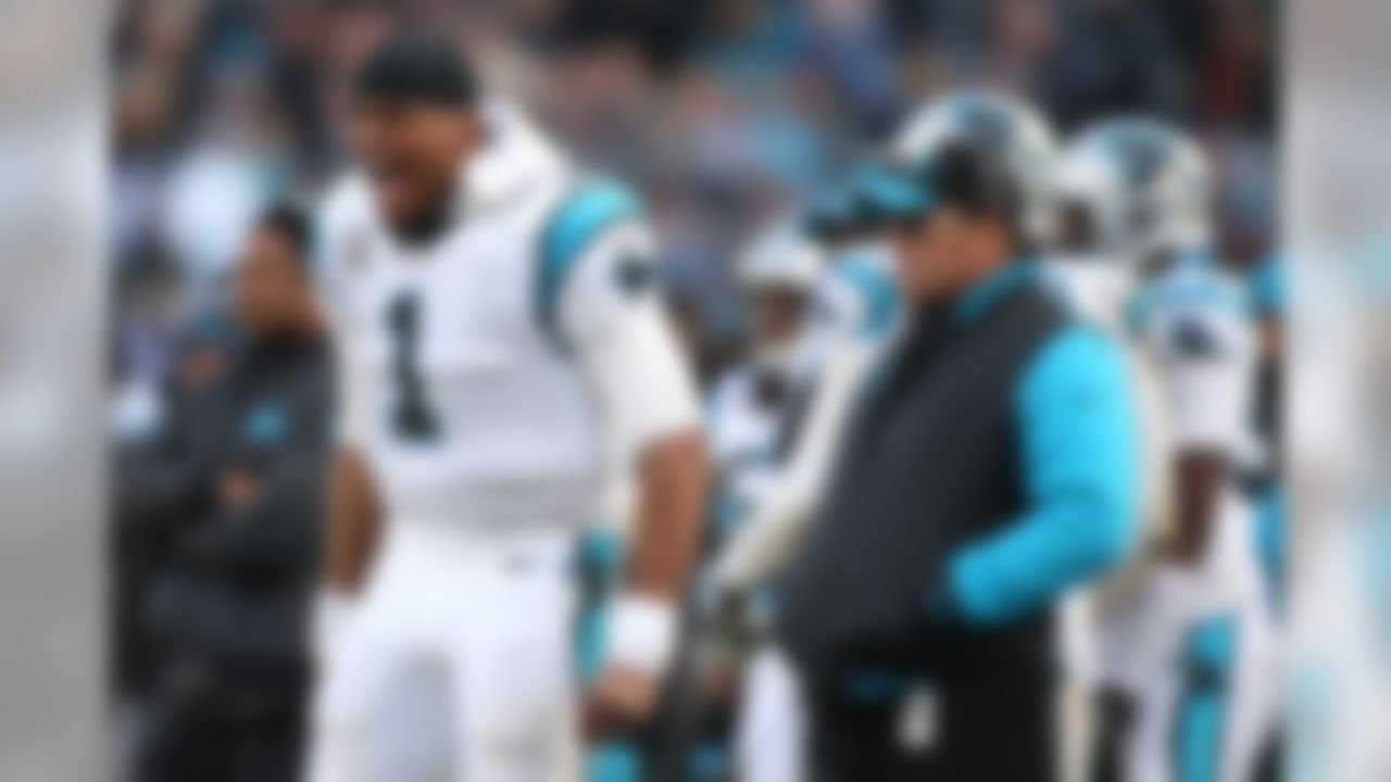 Carolina Panthers quarterback Cam Newton (1) reacts on the sideline during an NFL football game against the Seattle Seahawks at Bank of America Stadium on Sunday, Jan. 17, 2016 in Charlotte. The Panthers won 31-24 and advance to the NFC Championship. (Perry Knotts/NFL)