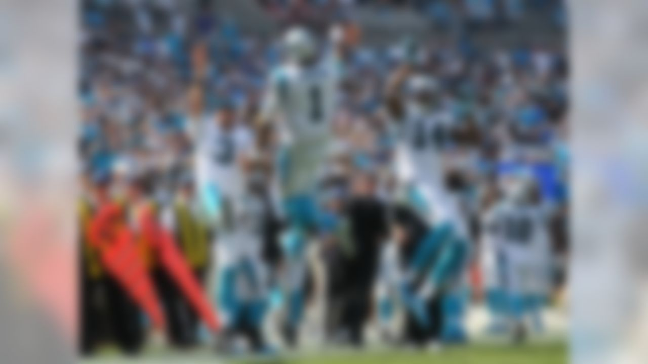 Carolina Panthers quarterback Cam Newton (1), quarterback Derek Anderson (3), and quarterback Joe Webb (14) celebrate after a touchdown during an NFL football game against the Carolina Panthers at Bank of America Stadium on Sunday, September 20, 2015 in Charlotte. The Panthers defeated the Texans 24-17. (Perry Knotts/NFL)