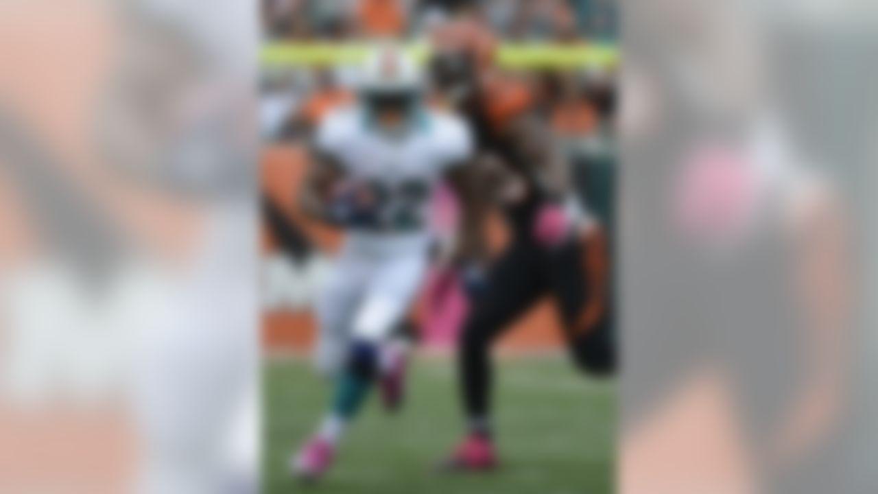 Miami Dolphins running back Reggie Bush (22) runs past Cincinnati Bengals defensive end Michael Johnson (93) in the second half of an NFL football game, Sunday, Oct. 7, 2012, in Cincinnati. (AP Photo/Michael Keating)