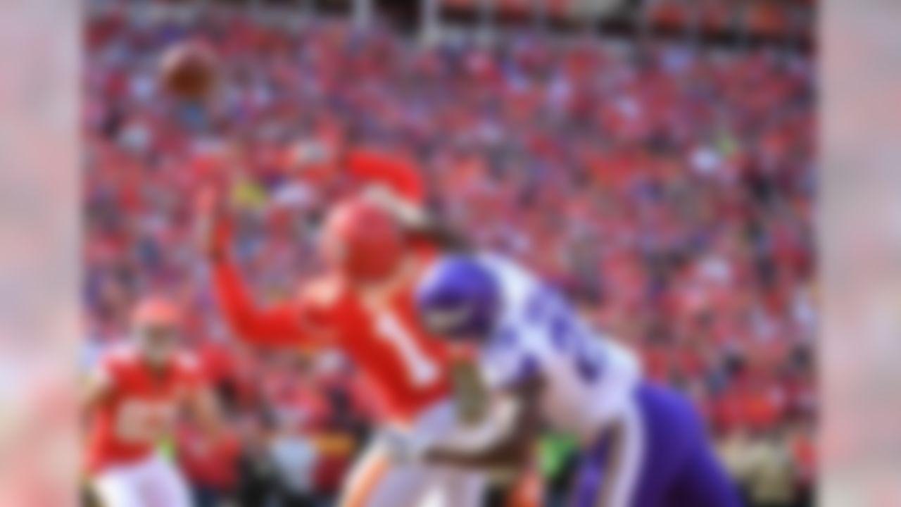 Minnesota Vikings cornerback Xavier Rhodes (29) breaks up a pass intended for Kansas City Chiefs wide receiver Sammy Watkins (14) during the first half at Arrowhead Stadium.