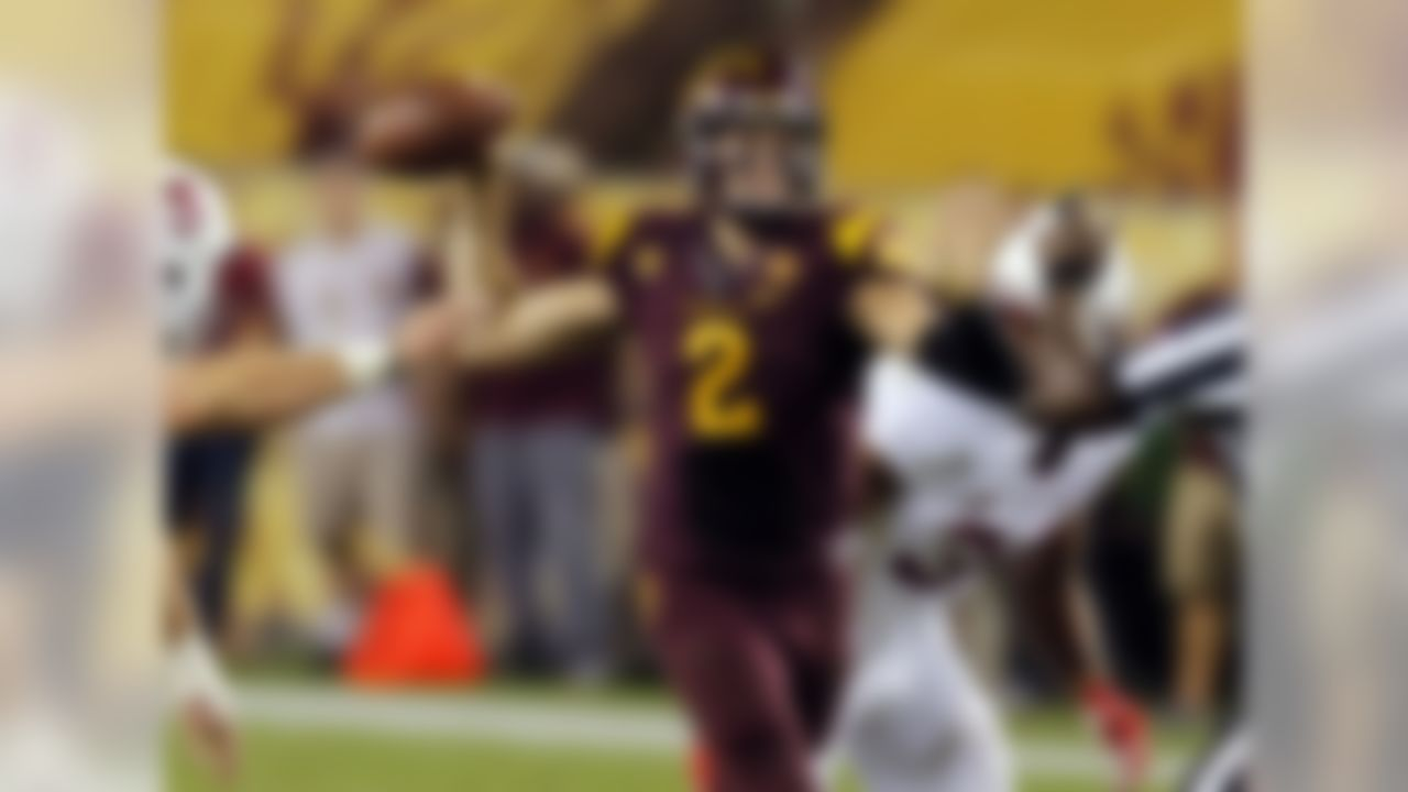 The Sun Devils' fifth-year senior has just three career starts to his name, yet 106 of 110 players voted him the team's overall leader in the spring. As such, he'll be one of three captains this fall. Inspiring that sort of confidence in one's teammates is easy when you shred Pac-12 rivals UCLA and USC for 998 combined passing yards in your first two career starts.