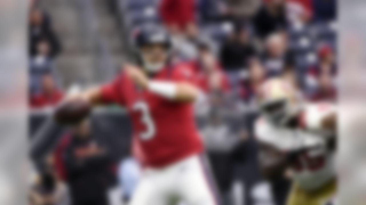 Houston Texans quarterback Tom Savage (3) throws against the San Francisco 49ers during the first half of an NFL football game Sunday, Dec. 10, 2017, in Houston. (AP Photo/Eric Christian Smith)