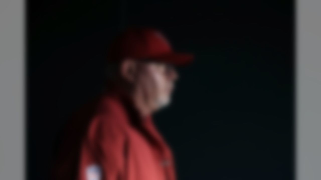 Arizona Cardinals head coach Bruce Arians walks onto the field before an NFL football game against the Philadelphia Eagles, Sunday, Oct. 8, 2017, in Philadelphia. (AP Photo/Matt Rourke)