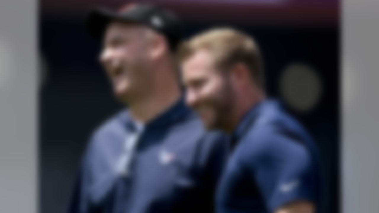 Houston Texans head coach Bill O'Brien, left, and Los Angeles Rams head coach Sean McVay laugh before an NFL preseason football game Saturday, Aug. 25, 2018, in Los Angeles. (AP Photo/Kelvin Kuo)