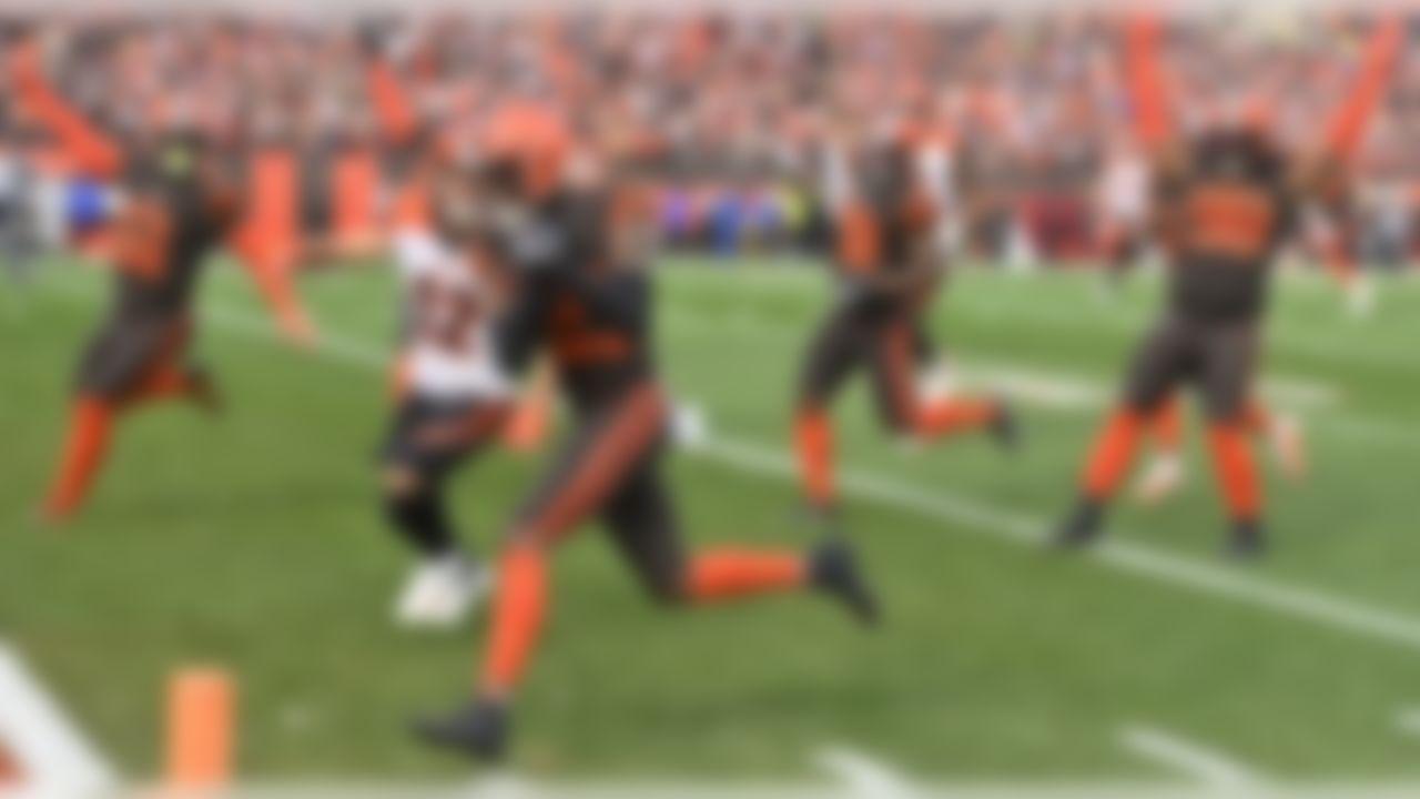 Cleveland Browns cornerback Denzel Ward scores on a 61-yard interception return during the first half of an NFL football game against the Cincinnati Bengals, Sunday, Dec. 8, 2019, in Cleveland. (AP Photo/David Richard)