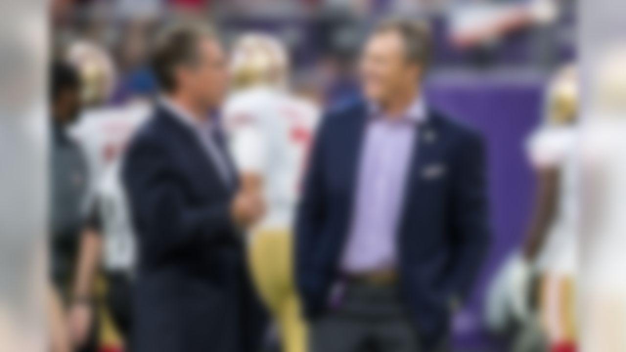 Aug 27, 2017; Minneapolis, MN, USA; Minnesota Vikings general manager Rick Spielman talks with San Francisco 49ers general manager John Lynch prior to the game at U.S. Bank Stadium. Mandatory Credit: Brace Hemmelgarn-USA TODAY Sports