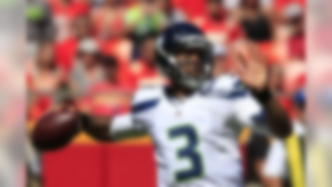 Seattle Seahawks quarterback Russell Wilson (3) throws during the first half of an NFL preseason football game against the Kansas City Chiefs in Kansas City, Mo., Saturday, Aug. 13, 2016. (AP Photo/Nati Harnik)