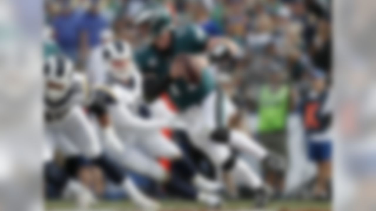 Wentz is done for the year, thanks to a torn ACL, but what he accomplished in 13 games (33 touchdown passes, seven picks, 7.5 yards per attempt, 101.9 passer rating) was so impressive, I feel comfortable giving him the top spot. He had one of the better second pro seasons at quarterback in NFL history, up there with Dan Marino's 1984 campaign.  ALTERNATE: Tom Brady, New England Patriots. Everybody seems to be jumping off the wagon after Monday's loss to the Dolphins, but don't bury Brady yet. He's still posting stellar numbers at age 40 and is my pick for the QB to slot behind Wentz.