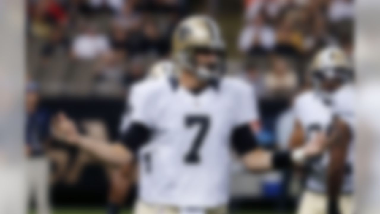 New Orleans Saints quarterback Luke McCown (7) reacts after an incomplete pass in the first half of an NFL football game against the Tennessee Titans in New Orleans, Friday, Aug. 15, 2014. (AP Photo/Bill Haber)