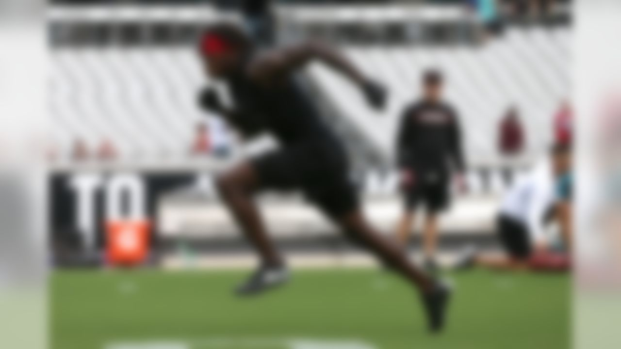 Atlanta Falcons wide receiver Julio Jones (11) during warm ups prior to an NFL football game against the Jacksonville Jaguars, Saturday, Aug. 25, 2018 in Jacksonville, Fla. (Perry Knotts/NFL)
