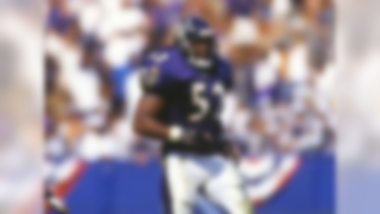 Baltimore Ravens, 1996-2012.  Lewis was not very big coming out, and Baltimore might have stayed away if not for current Eagles defensive coordinator Jim Schwartz, who was a defensive assistant for the Ravens when Lewis was drafted. At the Playboy All-American weekend, Schwartz noticed how, when Lewis sat down, about 15 other guys would come sit around him -- players gravitated toward him. What you see in an off-field setting can carry a lot of weight in your evaluation, and Schwartz stumped for Lewis. In Year 2, Lewis led the NFL in tackles  (156) and was named to the first of 13 Pro Bowls. And, of course, he went on to become the MVP of Super Bowl XXXV, heading a defense that allowed 165 points that season and just 23 points in four playoff games. Lewis had the quickness and ability to get off blocks and recognize what the offense was trying to do. He could play in space, collecting an exceptional 31 career interceptions. He also had great leadership qualities.