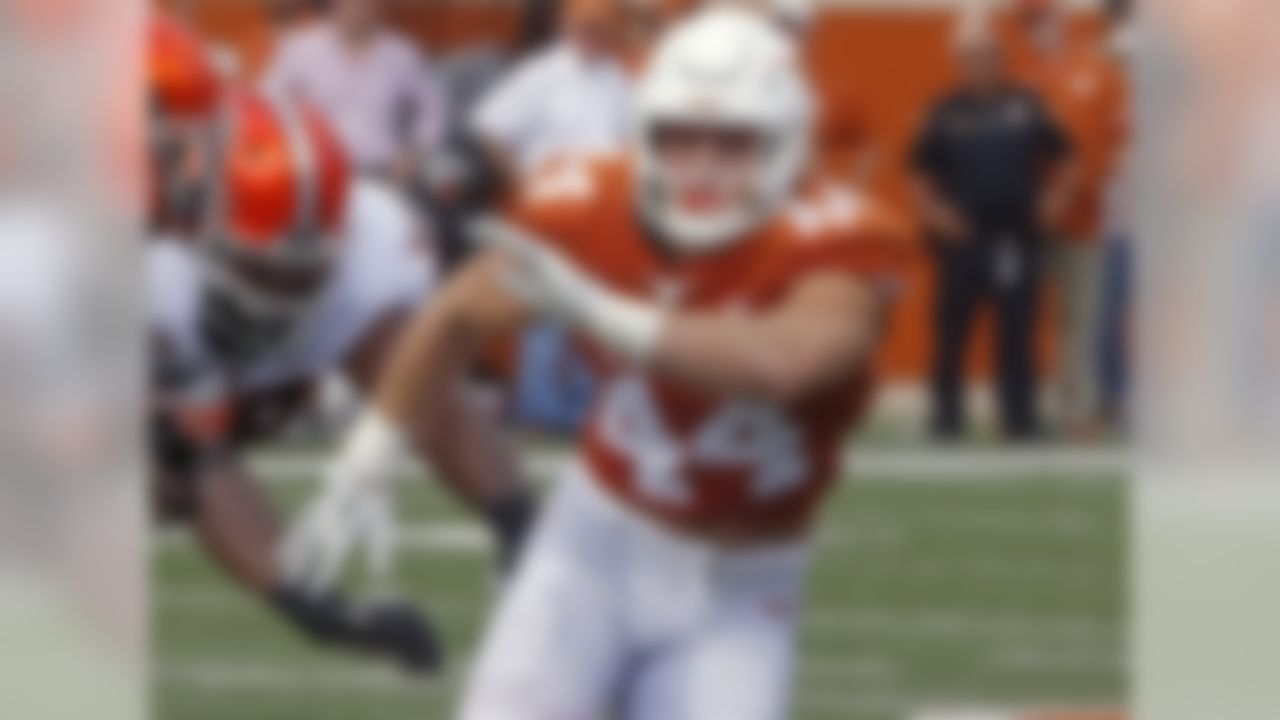 Hager, a senior, has been putting on weight since the arrival of Tom Herman's staff at Texas. But at 255 pounds, he can still hit 38 inches in the vertical jump. So how many guys at this year's NFL combine jumped 38-plus at 255-plus? Only two: Dallas Cowboys first-round pick Leighton Vander Esch, and Ade Aruna, a sixth-round pick of the Minnesota Vikings. Hager, whose father Britt played nine seasons in the NFL, also can power-clean 360 pounds.