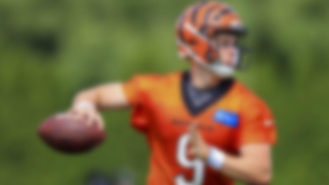 Cincinnati Bengals' Joe Burrow runs a drill, Wednesday, July 28, 2021.