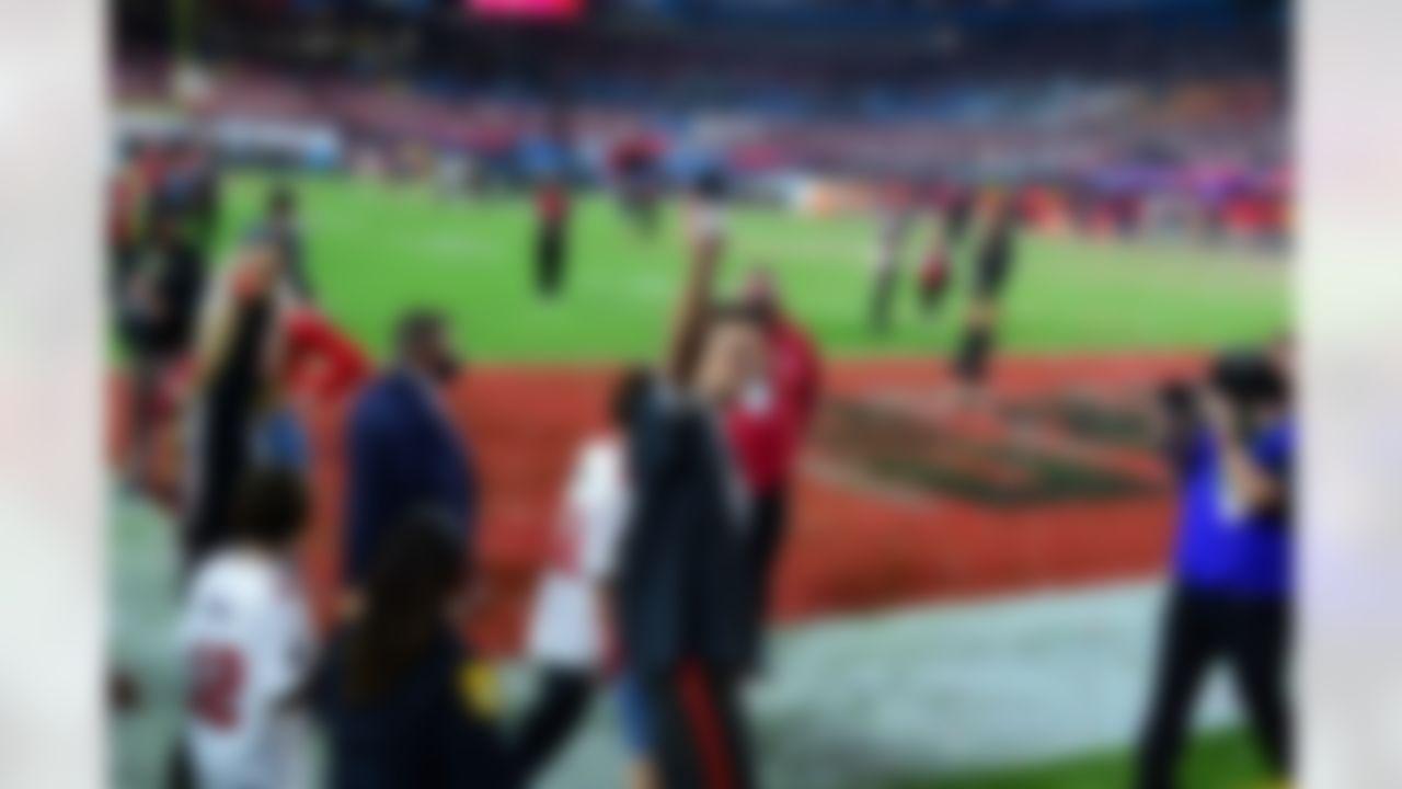 Tampa Bay Buccaneers quarterback Tom Brady (12) celebrates.