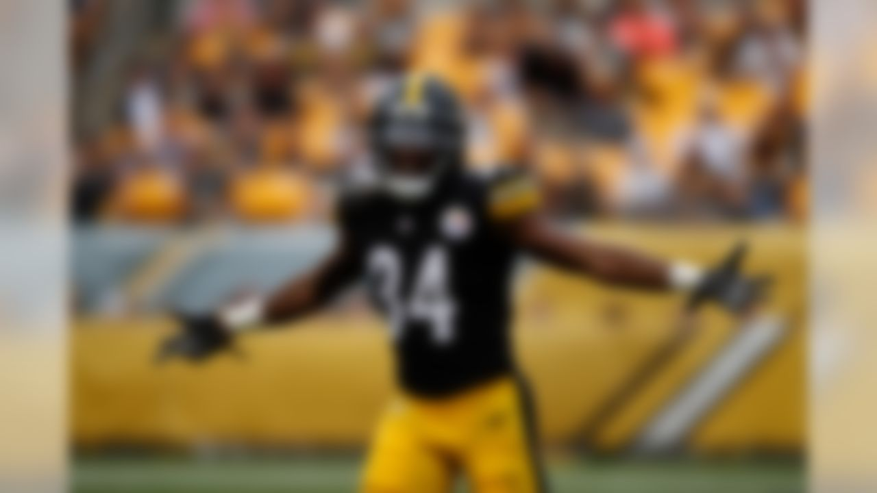Pittsburgh Steelers defensive back Terrell Edmunds (34) celebrates his interception during an NFL preseason football game against the Tennessee Titans on Aug. 25, 2018 in Pittsburgh. (Ric Tapia/NFL)