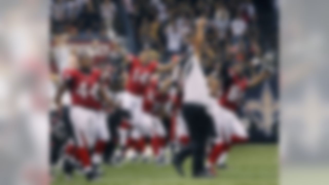 The Atlanta Falcons bench reacts after winning their  NFL football game against the New Orleans Saints in overtime at the Louisiana Superdome in New Orleans, La., Sunday, Sept. 26, 2010.  The Falcons won 27-24. (AP Photo/Patrick Semansky)