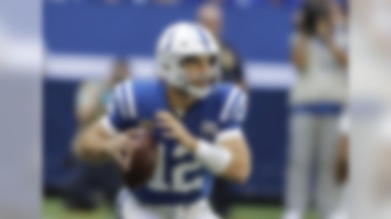 Indianapolis Colts quarterback Andrew Luck looks to throw during the first half of an NFL football game against the Houston Texans, Sunday, Sept. 30, 2018, in Indianapolis. (AP Photo/Darron Cummings)