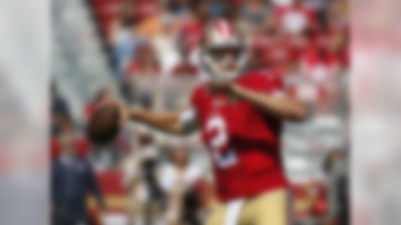 San Francisco 49ers quarterback Blaine Gabbert drops back to throw during the first half of an NFL preseason football game against the Houston Texans, Sunday, Aug. 14, 2016, in Santa Clara, Calif. (AP Photo/Tony Avelar)