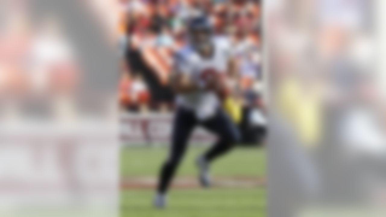 Houston Texans quarterback Matt Schaub (8) scrambles against the San Francisco 49ers in the first half of a preseason NFL football game in San Francisco, Saturday, Aug. 27, 2011. (AP Photo/Paul Sakuma)