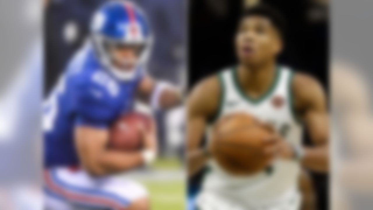 """The thing that sticks out to me the most about this pair is that both are freakish athletes. Barkley obviously has the legs that have earned him the nickname """"Saquad"""" amongst NFL fans. And Giannis has this incredible wingspan that makes it look like he could stand at center court and shake hands with fans on opposite sidelines. A quick aside: Giannis was selected 15th overall in the 2013 NBA Draft. The same year Cleveland took Anthony Bennett first overall. Could you imagine where the Cavs would be right now if they had drafted and traded away Giannis instead of Bennett and 2014 first overall pick Andrew Wiggins to make way for LeBron's return? (Answer: They'd still be one of the worst teams in the league, but their fans would be that much sadder.)"""