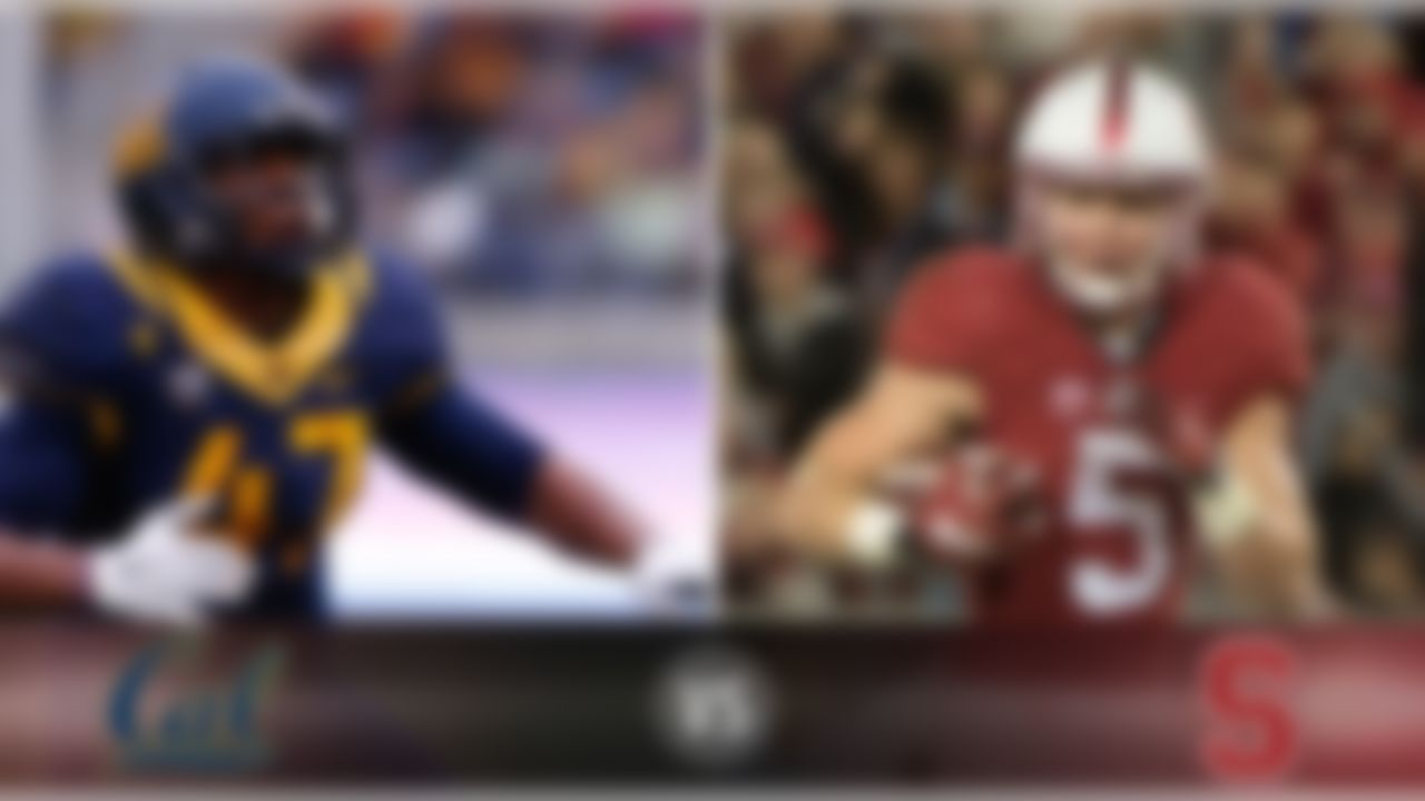 Details:  Saturday, 10:30 p.m. ET, ESPN What's at stake? The Cardinal can clinch the Pac-12 North with a win here. Cal's season has come unglued with four losses in the last five weeks, but a win at Stanford would certainly signal the end of the skid for star QB Jared Goff and the Golden Bears. Matchup to watch:  Stanford RB Christian McCaffrey vs. Cal LB Hardy Nickerson. Game picks:  Brandt: Stanford, 41-27 Brooks: Stanford, 28-20 Davis: Stanford, 55-40 Goodbread: Stanford, 28-24 Jeremiah: Stanford, 34-31 Reuter: Stanford, 34-24 Zierlein: Stanford, 31-21