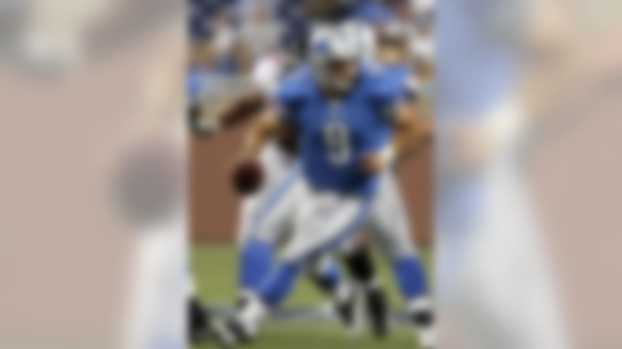 Detroit Lions quarterback Matthew Stafford (9) scrambles during an exhibition NFL football game against the Atlanta Falcons at Ford Field in Detroit, Saturday, Aug. 15, 2009. (AP Photo/Carlos Osorio)