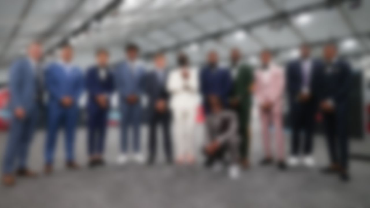 The NFL Draft prospects pose for a group photo on Thursday, April 29, 2021 in Cleveland, Ohio.
