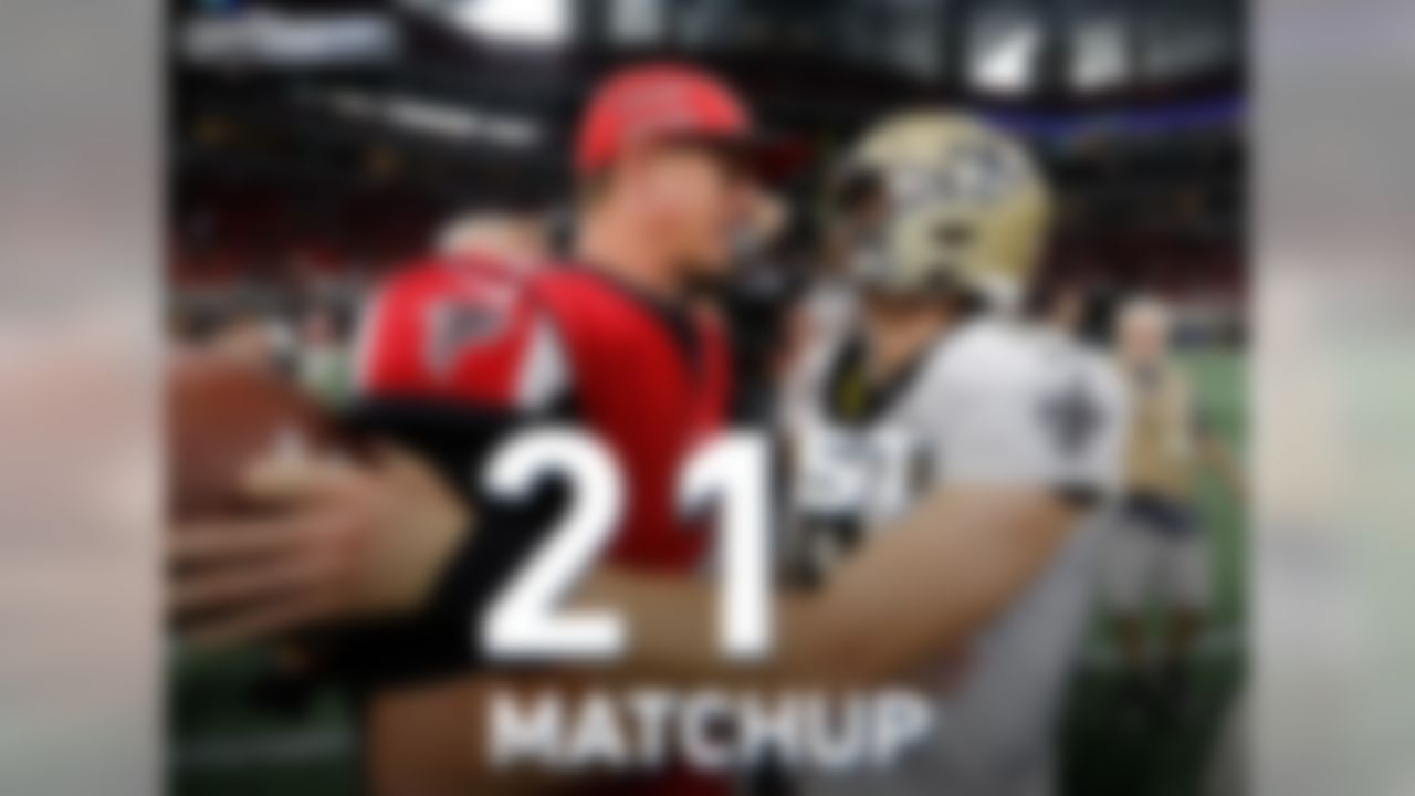 On Thanksgiving, Matt Ryan and Drew Brees will meet for the 21st time in their careers. They have already met more times than any other opposing quarterbacks since 1970, including Hall of Famers Dan Marino and Jim Kelly (18).