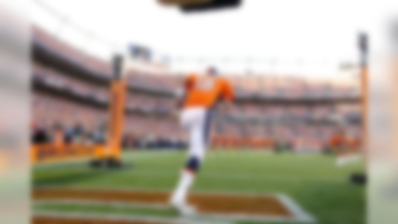 Quarterback Peyton Manning #18 of the Denver Broncos prepares to take the field before a game against the Pittsburgh Steelers at Sports Authority Field at Mile High in Denver, Colorado. (Ric Tapia/NFL)