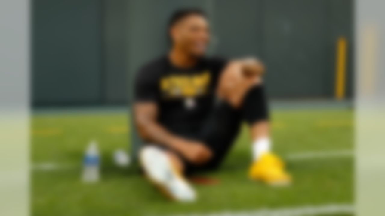 Pittsburgh Steelers defensive back Joe Haden (23) laughs before an NFL preseason football game against the Green Bay Packers on Aug. 16, 2018 in Green Bay, Wis. (Ric Tapia/NFL)