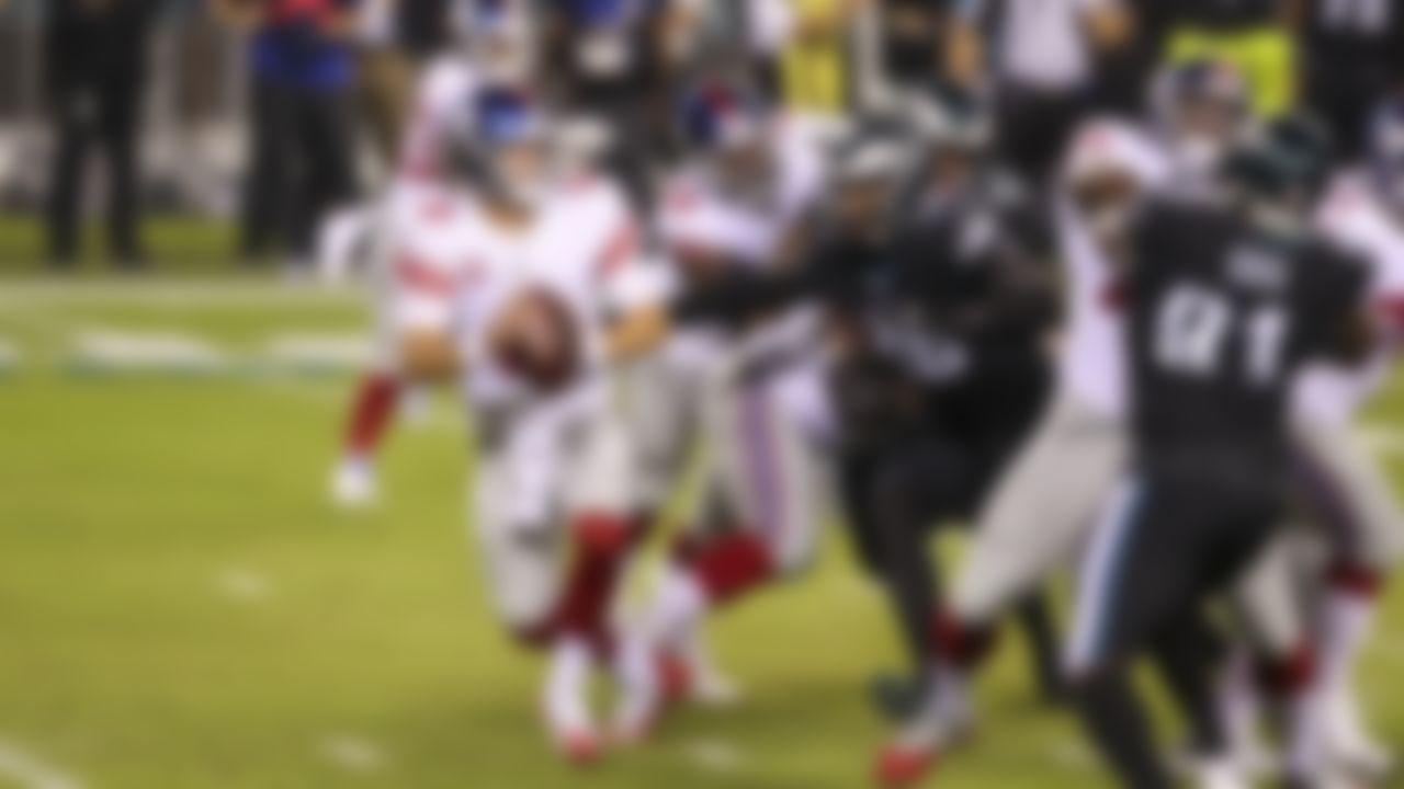 New York Giants quarterback Daniel Jones (8) looks to throw the ball during an NFL football game against the Philadelphia Eagles on Thursday, October 22, 2020 in Philadelphia, Pennsylvania.
