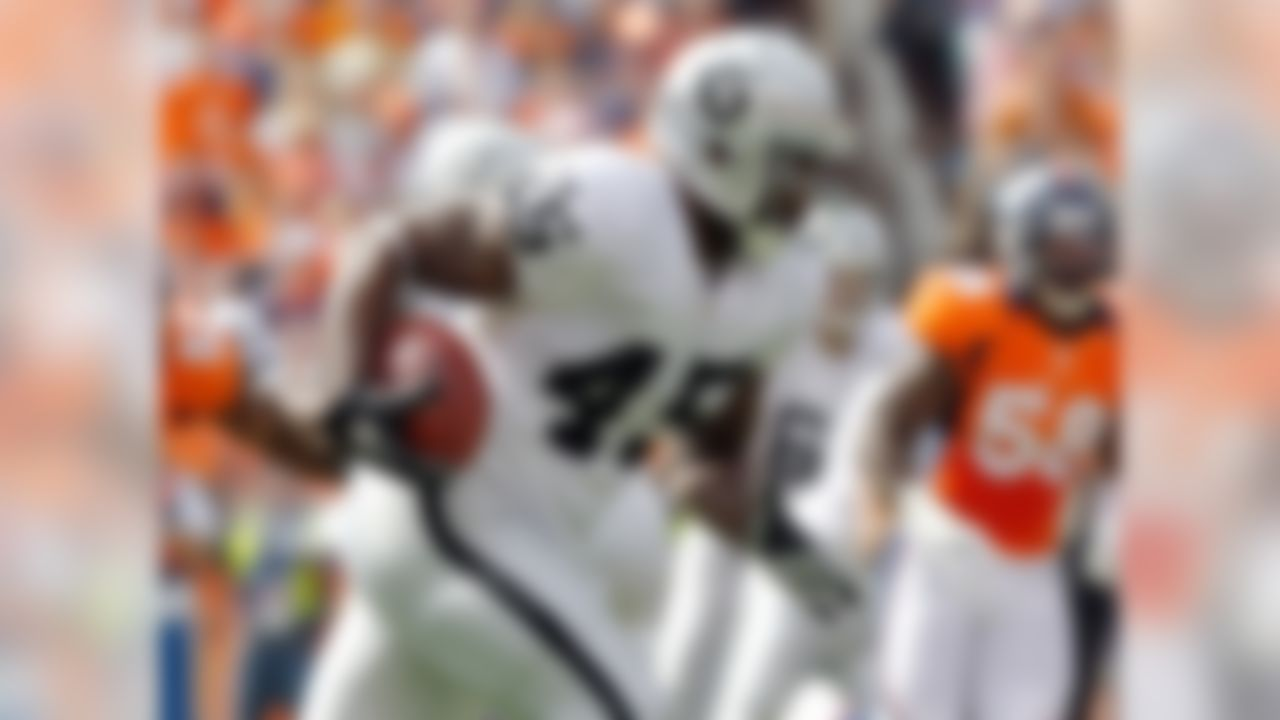 Darren McFadden and Mike Goodson both suffered high ankle sprains in Week 9, leaving Reece to now share carries with Taiwan Jones. However, the fact that Reece saw most of the work against the Tampa Bay Buccaneers makes him the better fantasy option, especially in PPR leagues. Jones is also worth a look in deeper formats. (Ric Tapia/NFL)