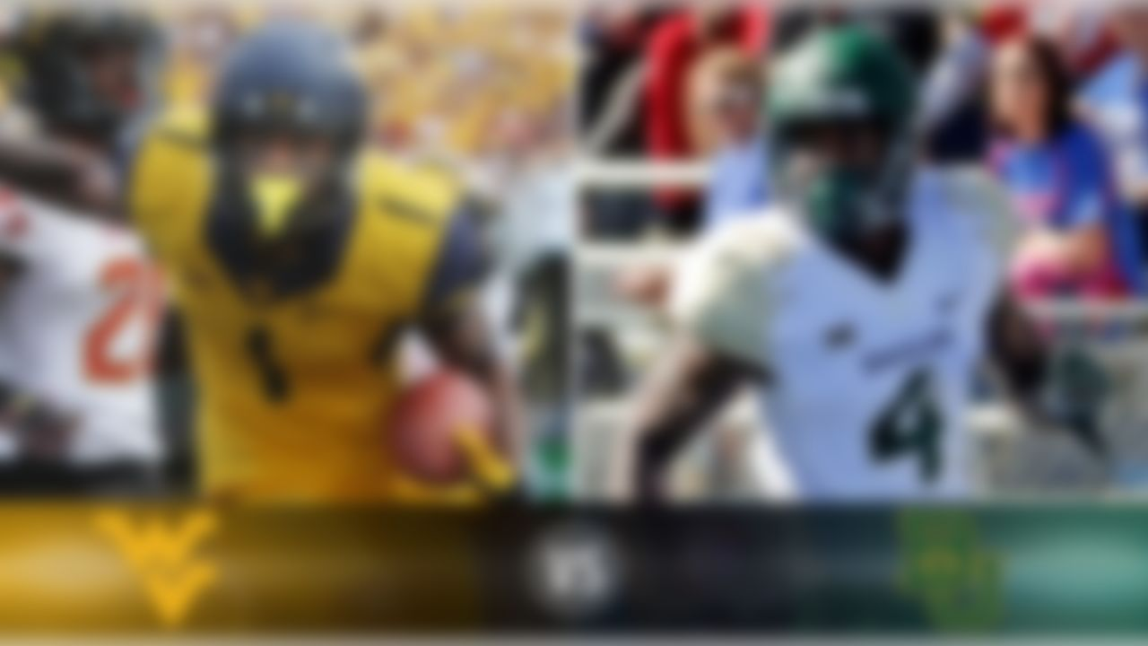 Details:  Saturday, Noon ET, FOX What's at stake? Baylor draws a West Virginia team wounded by two consecutive losses in Big 12 play, but the Mountaineers' offense can score with anyone. Baylor looks to stay undefeated, and keep pace with TCU and Oklahoma State in the conference race. Matchup to watch:  West Virginia WR Shelton Gibson vs. Baylor CB Xavien Howard Game picks:  Brandt: Baylor, 52-24 Brooks: Baylor, 62-42 Davis: Baylor, 55-40 Goodbread: Baylor, 45-30 Jeremiah: Baylor, 58-34 Reuter: Baylor, 56-35 Zierlein: Baylor, 51-24