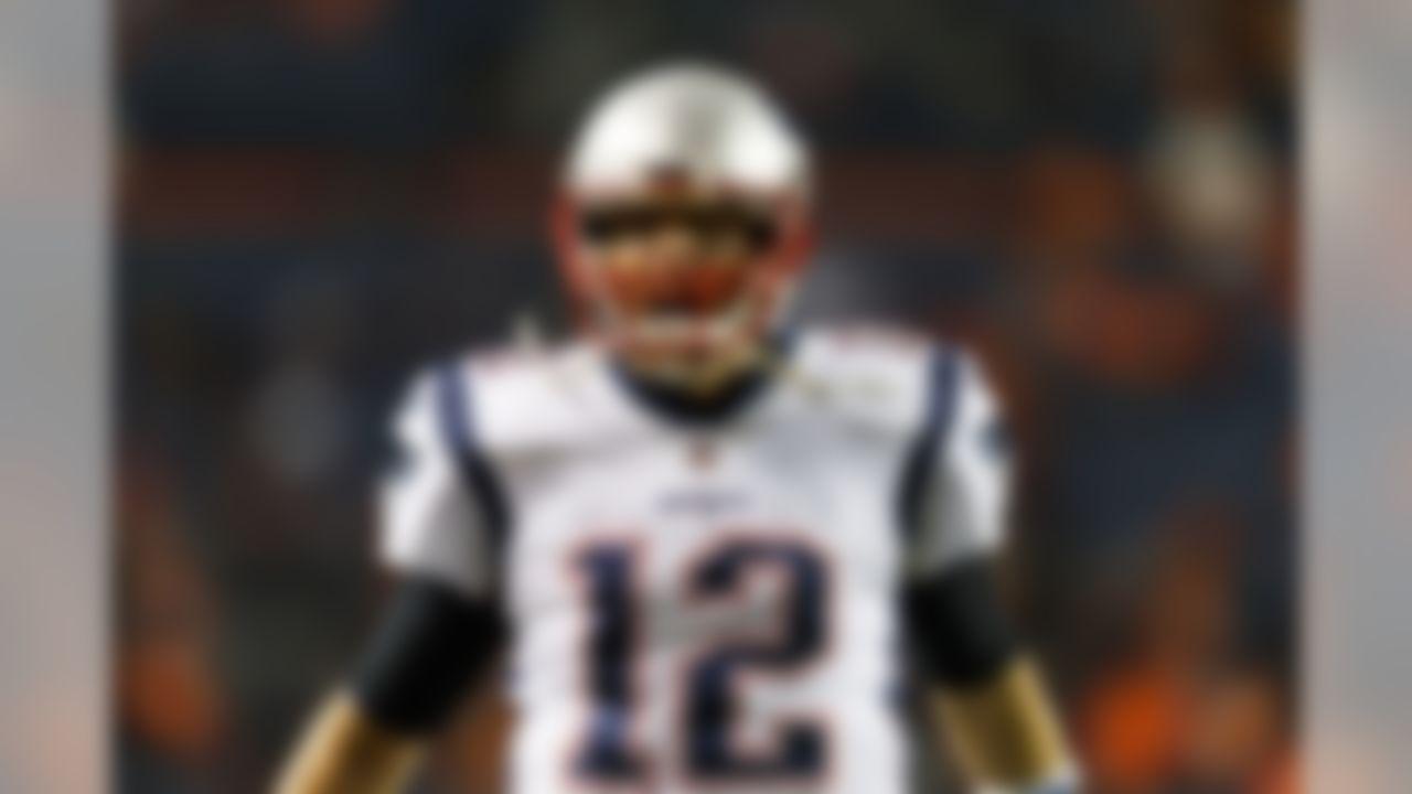 New England Patriots quarterback Tom Brady (12) yells prior to an NFL football game against the Denver Broncos, Sunday, Nov. 12, 2017, in Denver. The Patriots defeated the Broncos, 41-16. (Ryan Kang/NFL)