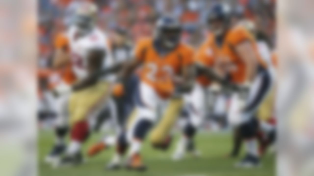 Denver Broncos running back C.J. Anderson (22) runs for a touchdown against the San Francisco 49ers during the first half of a preseason NFL football game, Saturday, Aug. 20, 2016, in Denver. (AP Photo/Joe Mahoney)