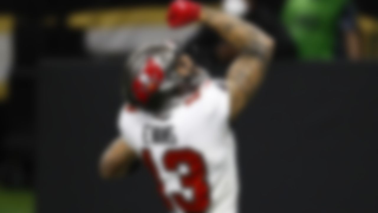 Tampa Bay Buccaneers wide receiver Mike Evans (13) celebrates after scoring a touchdown during an NFL Divisional Round playoff game against the New Orleans Saints on Sunday, January 17, 2021 in New Orleans, Louisiana.