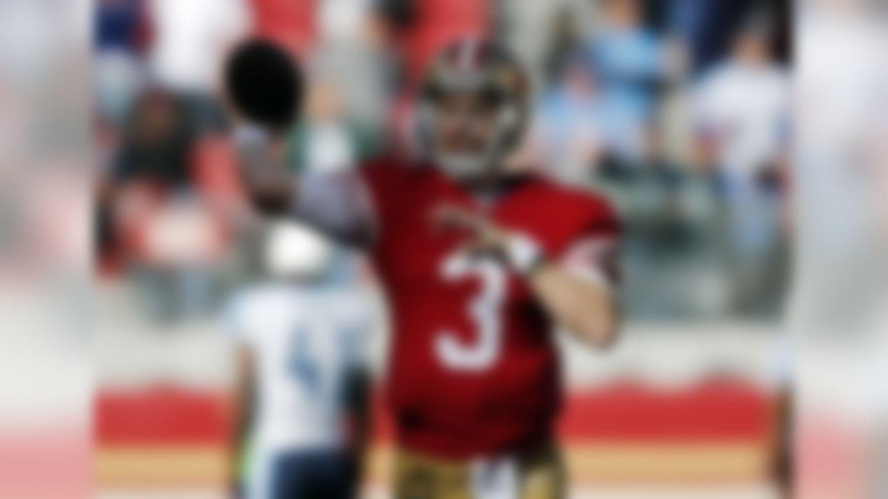 San Francisco 49ers quarterback C.J. Beathard (3) warms up before an NFL football game against the Tennessee Titans, Sunday, Dec. 17, 2017, in Santa Clara, Calif. (AP Photo/John Hefti)