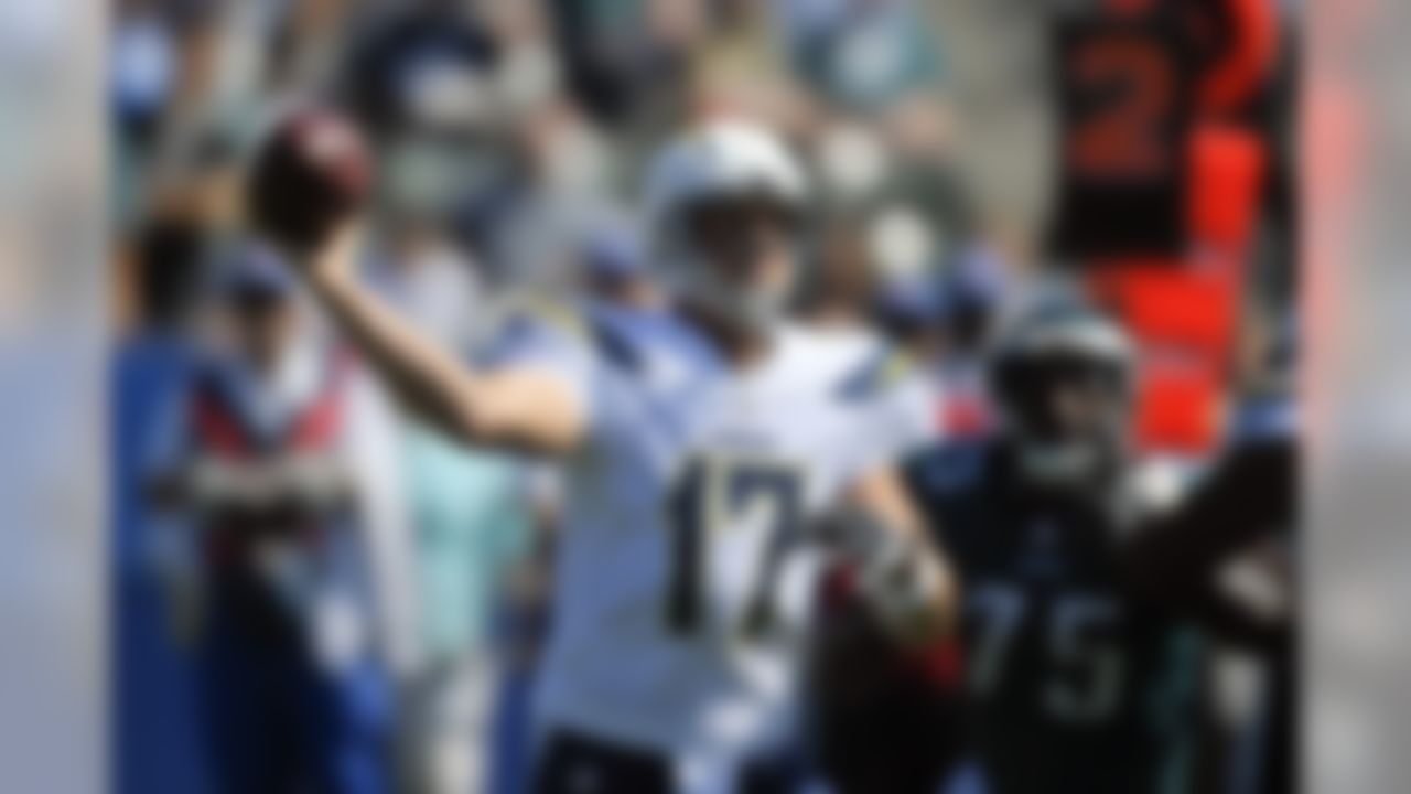 Los Angeles Chargers quarterback Philip Rivers throws a pass during the first half of an NFL football game against the Philadelphia Eagles Sunday, Oct. 1, 2017, in Carson, Calif. (AP Photo/Mark J. Terrill)