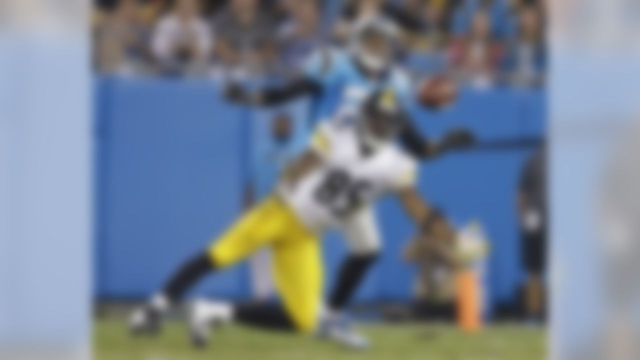 Pittsburgh Steelers' Darrius Heyward-Bey (85) reaches for a pass as Carolina Panthers' Thomas DeCoud (21) defends during the first half of an NFL football game in Charlotte, N.C., Sunday, Sept. 21, 2014. The pass was incomplete. (AP Photo/Bob Leverone)