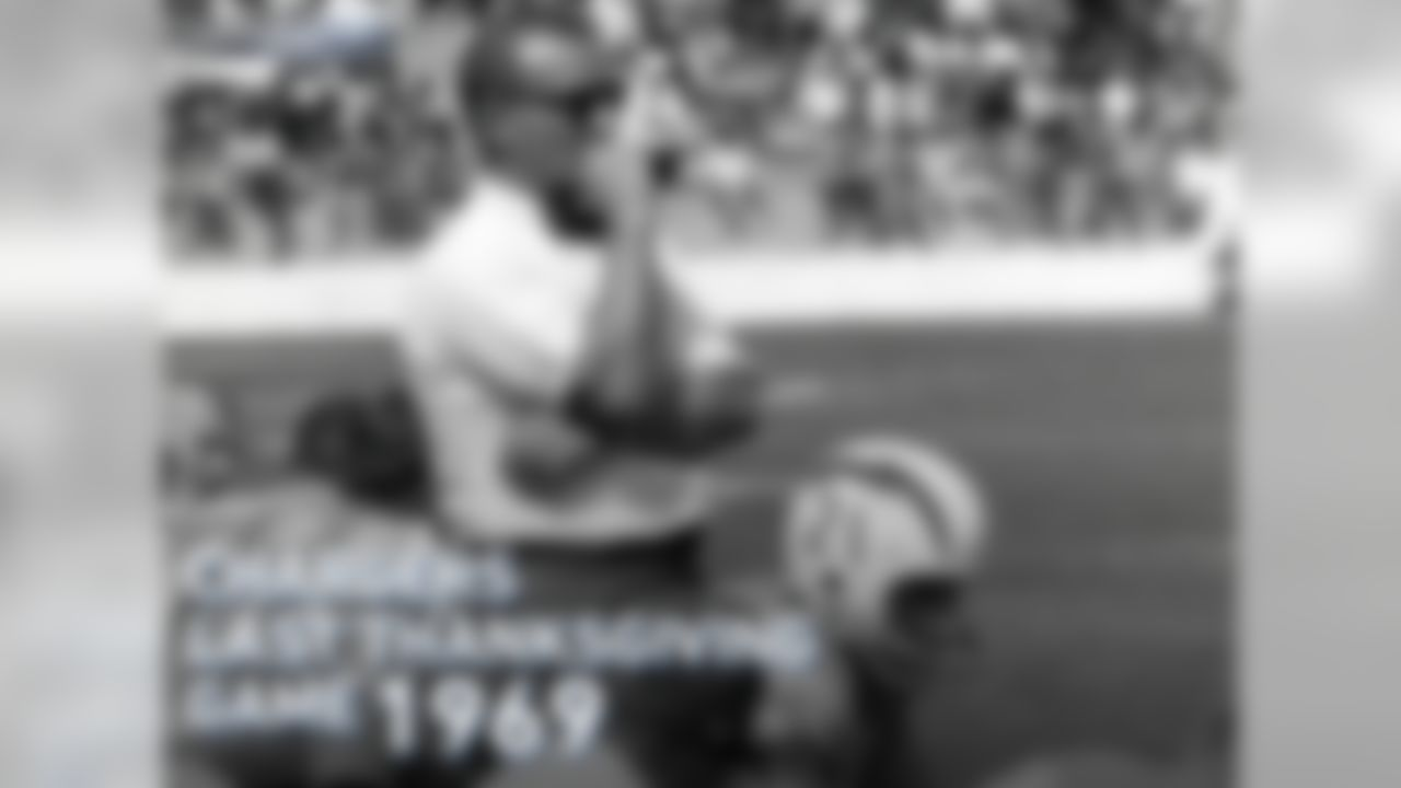 """The last time the Chargers played on Thanksgiving, their head coach was Sid Gillman and their leading receiver was Lance Alworth (beat Houston Oilers 21-17 on November 27, 1969). The last time a Los Angeles-based team played on Turkey Day was 1975, when Chuck Knox's LA Rams and the """"Fearsome Foursome"""" beat the Lions 20-0."""