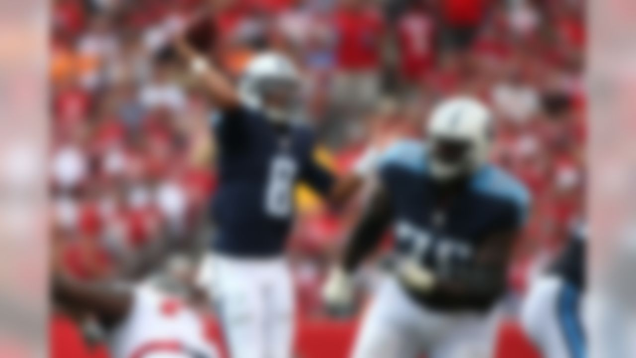 Tennessee Titans quarterback Marcus Mariota (8) throws a pass during an NFL football game against the Tampa Bay Buccaneers at Raymond James Stadium on Sunday, September 13, 2015 in Tampa. The Titans defeated the Buccaneers 42-14.  (Perry Knotts/NFL)