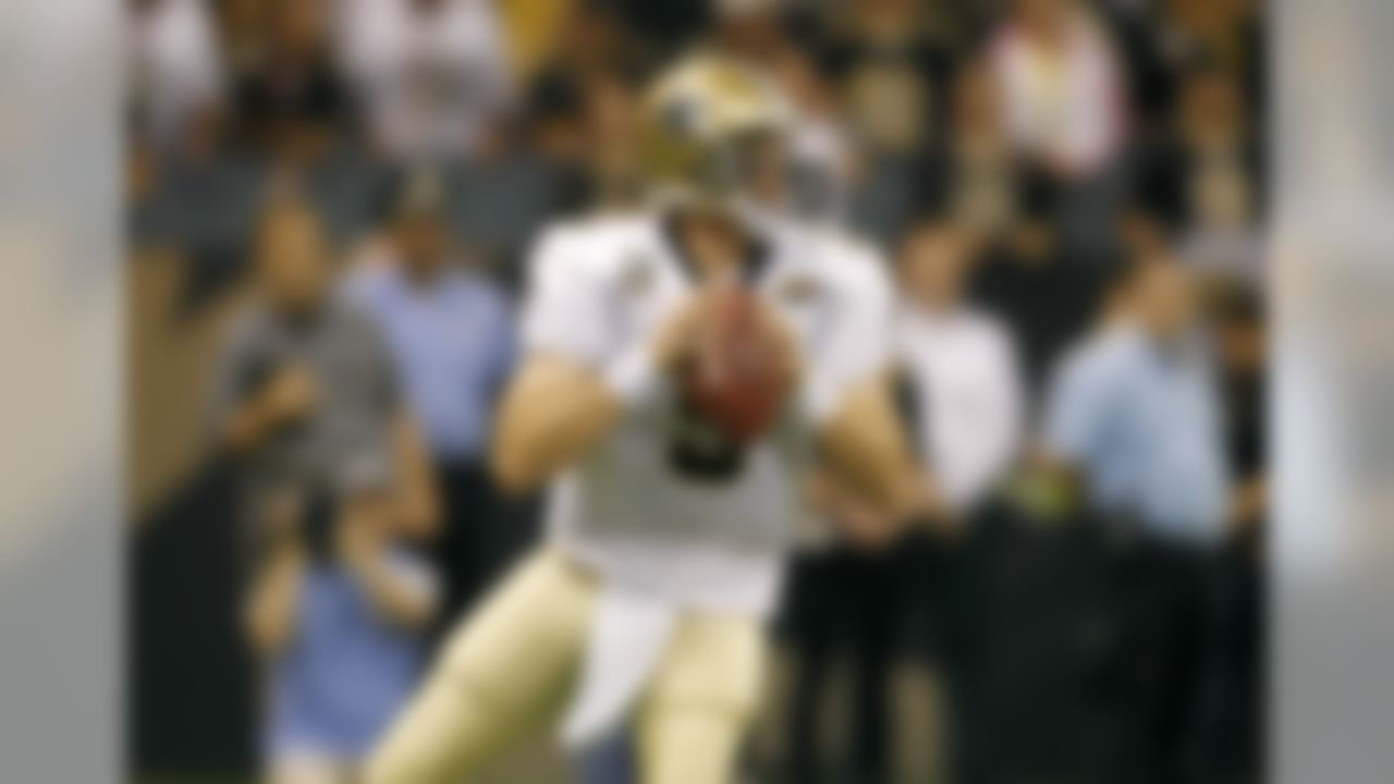 New Orleans Saints quarterback Drew Brees looks to throw the ball downfield against the Minnesota Vikings during the NFL Kickoff game at the Louisiana Superdome on September 9, 2010 in New Orleans, Louisiana. (Aaron M. Sprecher/NFL)