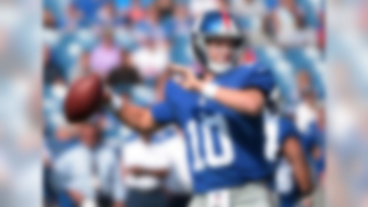 """This is the year for Eli. If ever he is going to prove himself as the """"elite"""" QB his supporters claim he is, 2016 is the time. New York has a better defense, meaning Manning won't be compensating. He's been highly effective in Ben McAdoo's offense over the last two years. Victor Cruz is back in the fold (we think), Odell Beckham Jr. is a stud and rookie Sterling Shepard is garnering plenty of buzz entering this season. Tom Brady is out four games, Cam Newton could come back to Earth a bit, so ... Why not?"""