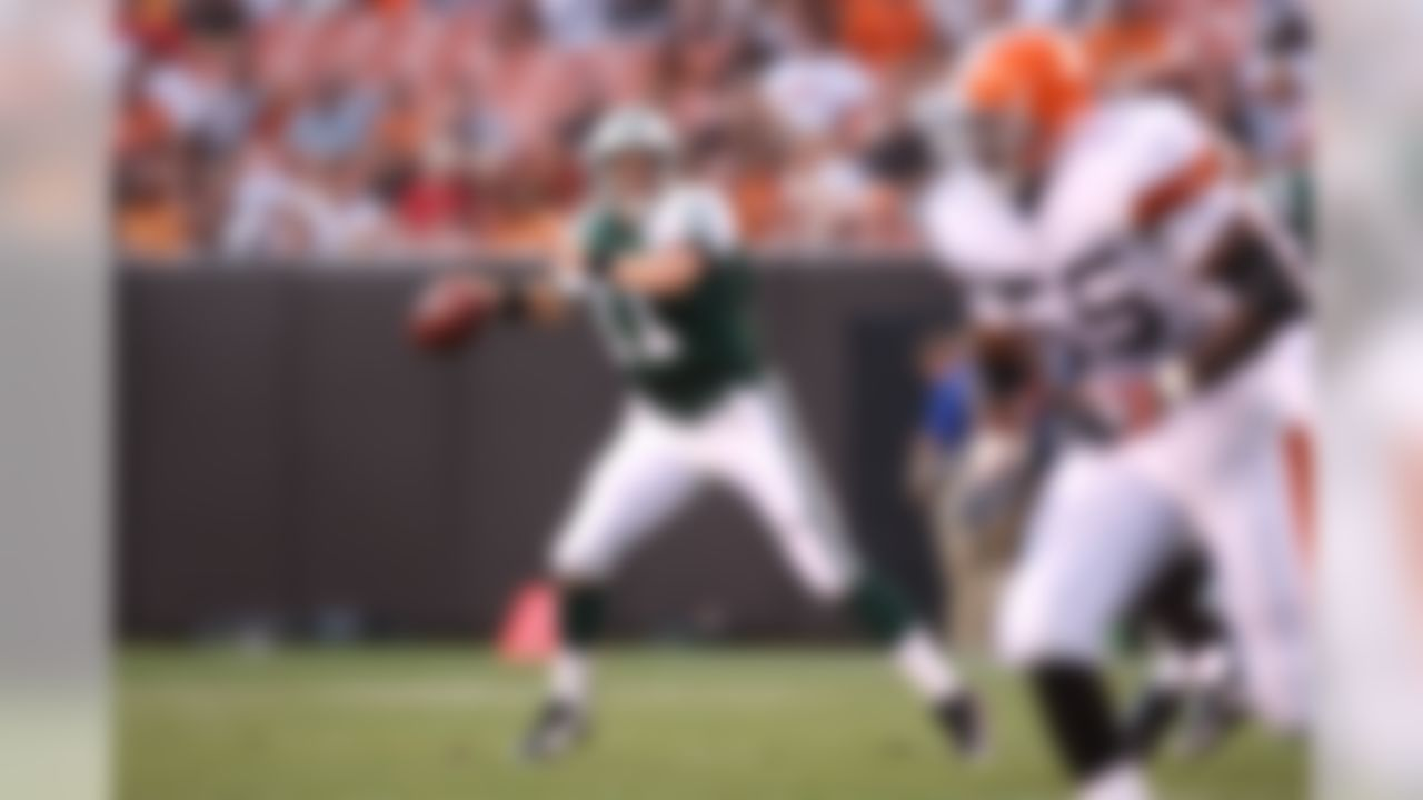 CLEVELAND, OH - AUGUST 7:  Kellen Clemens #11 of the New York Jets looks to pass the ball during the first quarter of a preseason game against the Cleveland Browns at Cleveland Browns Stadium on August 7, 2008 in Cleveland, Ohio. The game was suspended due to lightning. (Photo by Joe Robbins/Getty Images)