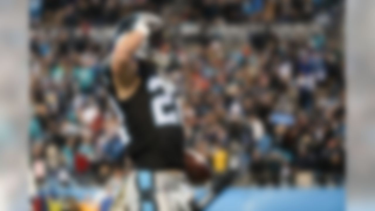 Carolina Panthers running back Christian McCaffrey (22) celebrates after touchdown during an NFL game against the Miami Dolphins on Monday, Nov. 12, 2017, in Charlotte, N.C. (Logan Bowles/NFL)