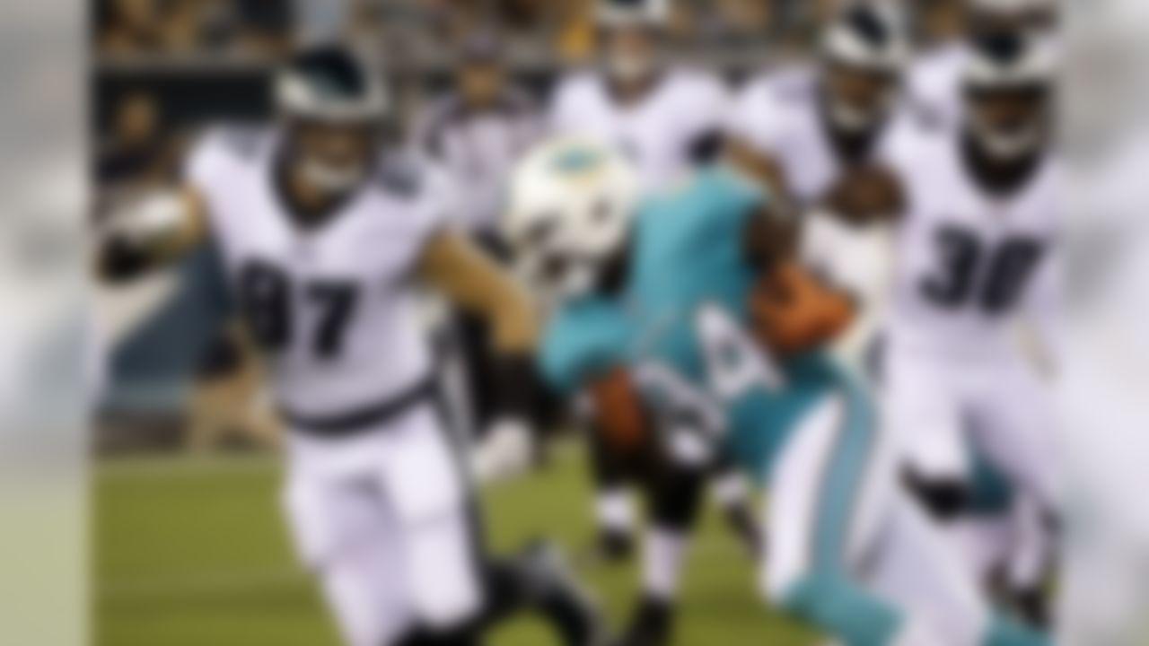 Miami Dolphins' Lawrence Timmons returns an interception during the first half of a preseason NFL football game against the Philadelphia Eagles, Thursday, Aug. 24, 2017, in Philadelphia. (AP Photo/Matt Rourke)