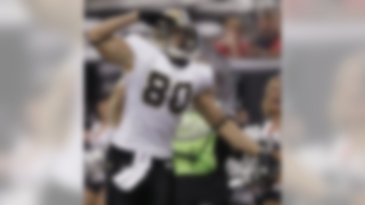 New Orleans Saints tight end Jimmy Graham reacts after catching a touchdown pass during the first half of an NFL football game against the Atlanta Falcons, Sunday, Nov. 13, 2011, in Atlanta. (AP Photo/David Goldman)