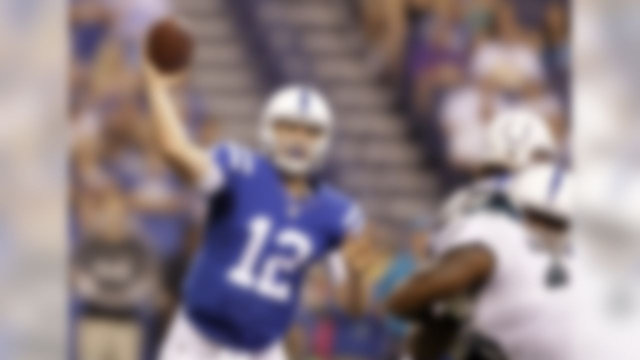Indianapolis Colts quarterback Andrew Luck (12) throws against the Philadelphia Eagles during the first half of an NFL preseason football game in Indianapolis, Saturday, Aug. 27, 2016. (AP Photo/Darron Cummings)