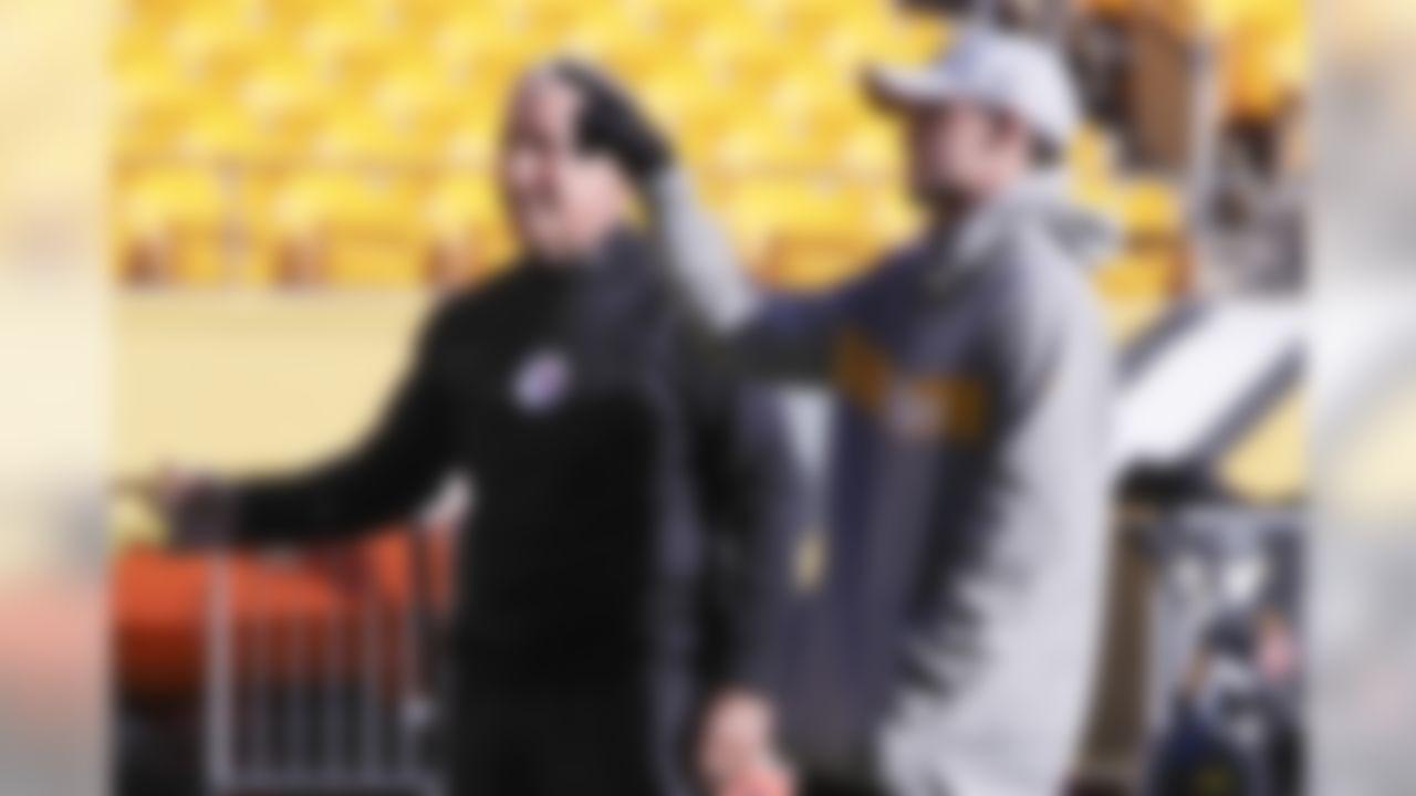 Pittsburgh Steelers new kicker Matt McCrane, right, talks with special teams coach Danny Smith before an NFL football game against the Cincinnati Bengals, Sunday, Dec. 30, 2018, in Pittsburgh. (AP Photo/Gene J. Puskar)